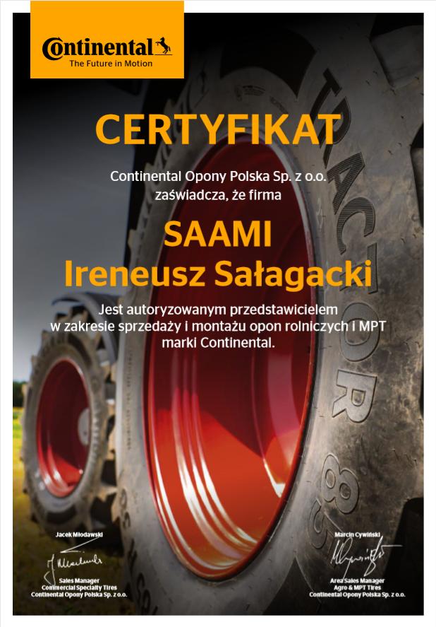 Certyfikat Continental Opony Polska Sp. zo. o.